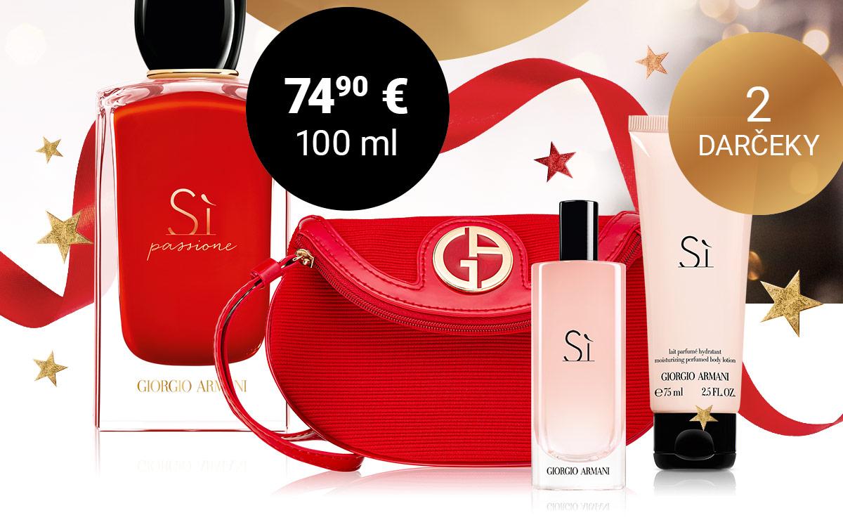 100 ml si Passione v akcii + kozmetická taška a miniatúra podľa výberu ako darček k nákupu dámskych produktov Giorgio Armani za viac ako 80 €