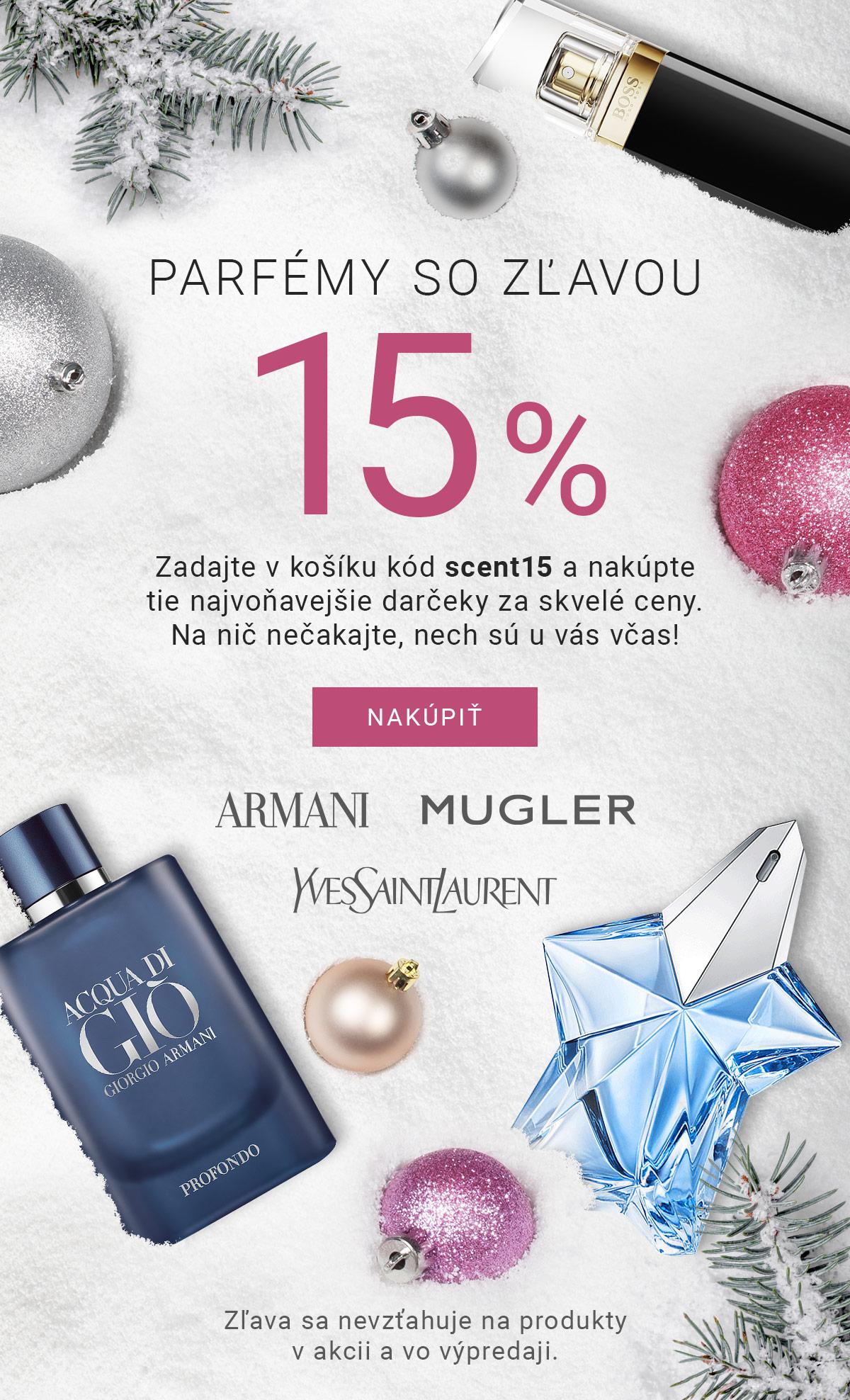 Parfémy so zľavou 15 %. Zadajte v košíku kód scent15